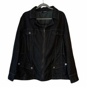 Dark Wash Denim Zip-Up Jacket